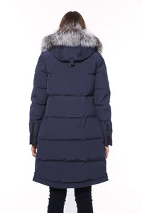 Moose Knuckles Ladies Salmon River Parka - True Navy with White Fur