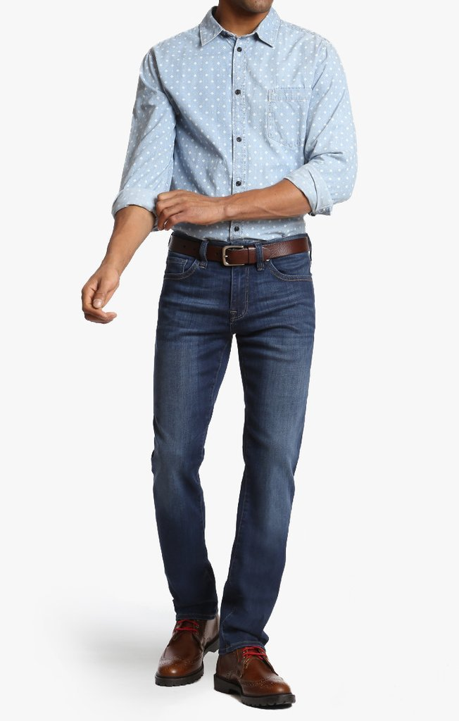 34 HERITAGE Courage Straight Leg Jeans in Deep Tencel