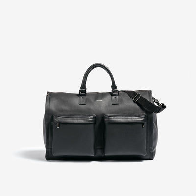 Hook & Albert Leather Garment Weekender Bag - Black and Silver