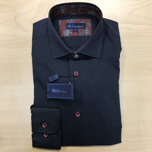 *NEW FASHION STYLE* Polifroni BLU | Slim Fit Non-Iron Dress Shirt - Black / Rust