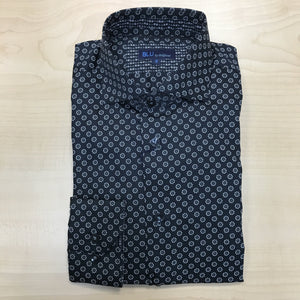 *NEW FASHION STYLE* Polifroni BLU | Slim Fit Non-Iron Dress Shirt - Black / White Swirl