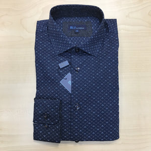 *NEW FASHION STYLE* Polifroni BLU | Slim Fit Non-Iron Dress Shirt - Navy Pattern