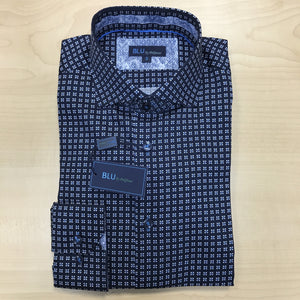 *NEW FASHION STYLE* Polifroni BLU | Slim Fit Non-Iron Dress Shirt - Blue Square