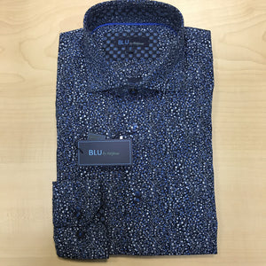 *NEW FASHION STYLE* Polifroni BLU | Slim Fit Non-Iron Dress Shirt - Blue Bubbles