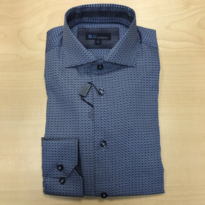 *NEW FASHION STYLE* Polifroni BLU | Slim Fit Non-Iron Dress Shirt - Blue Weave