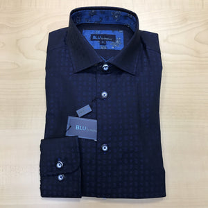 *NEW FASHION STYLE* Polifroni BLU | Slim Fit Non-Iron Dress Shirt - Blue Print