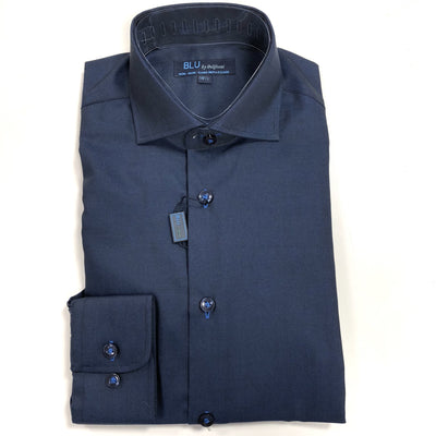polifroni blu navy dress shirt