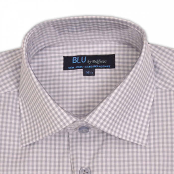 Polifroni BLU | Grey Slim Fit Mini Check Dress Shirt
