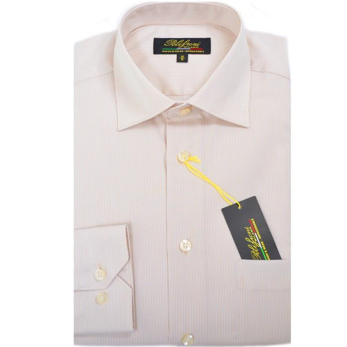 Polifroni Milano | Beige Striped Cotton Dress Shirt