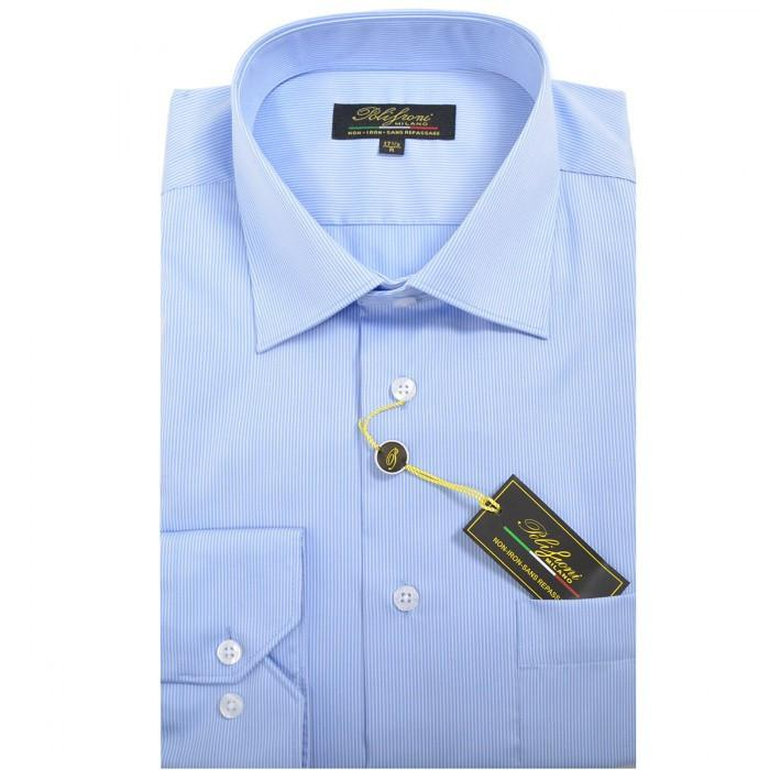 Polifroni Milano | Light Blue Striped Cotton Dress Shirt