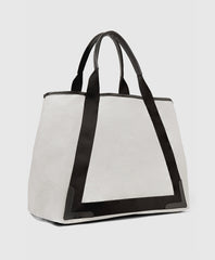 Cabas leather trimmed canvas tote