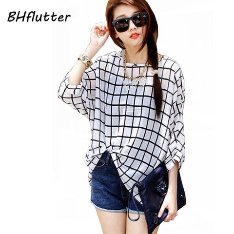 Chiffon Shirts Plus Size to 6XL Women Clothing, Plaid & Prints Summer Blouses Batwing