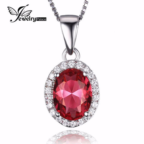 Classic 2ct Created Pink Sapphire 925 Sterling Silver Halo Pendant No Chain Included