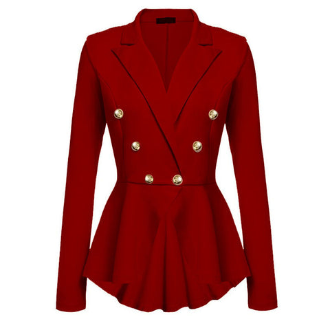 Autumn Fashion Women Slim Fit Blazer Jackets Long Sleeve Blazer Office wear Solid M-2X Asst Colors