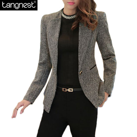 Slim Blazer Basic Solid Office Jackets Ladies Work Suit, office, Plus Size S-4X
