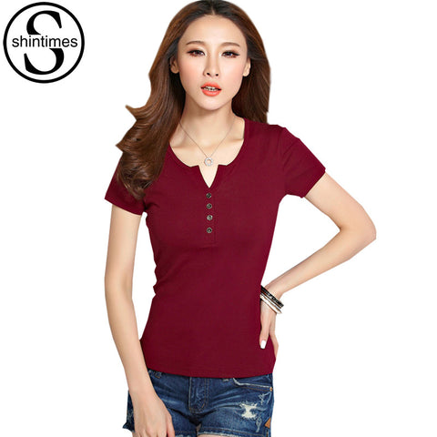 Button Top Short Sleeve T-Shirt Plus Size to 4XL