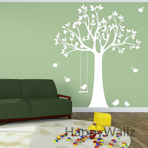 Birds with Tree Swing, Removable, Wall Decals, Many Asst colors avail.