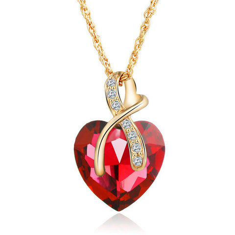 Heart Shaped Crystal Necklace with Link Chain and Crystal accents, 4 Colors.