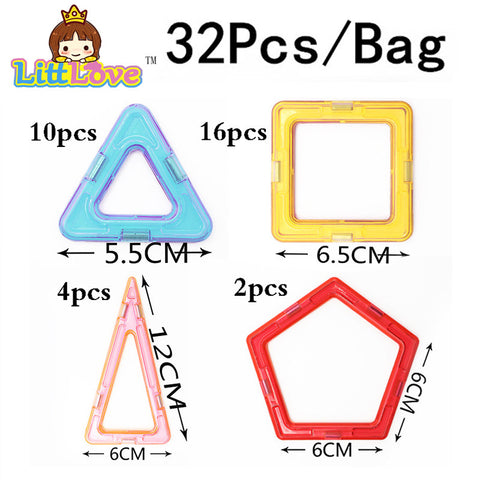 32 PCS Standard Size Magnetic Building Shapes