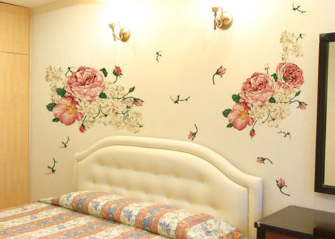 70*50CM Peony Flowers PVC Removable Vinyl Wall Decals