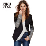 Casual Silver Sequin Sleeve Women's Blazer Solid Black Blazer, One Button Slim Ladies Blazer