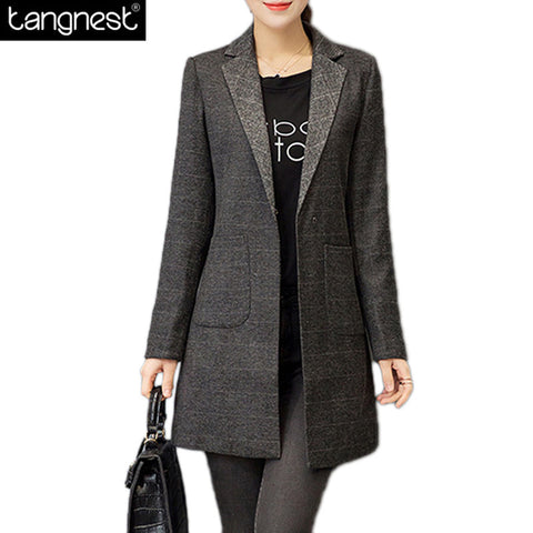 Elegant Plaid Long Blazer, Notched Collar, Pockets, Jacket, Slim Look Coat S-3X