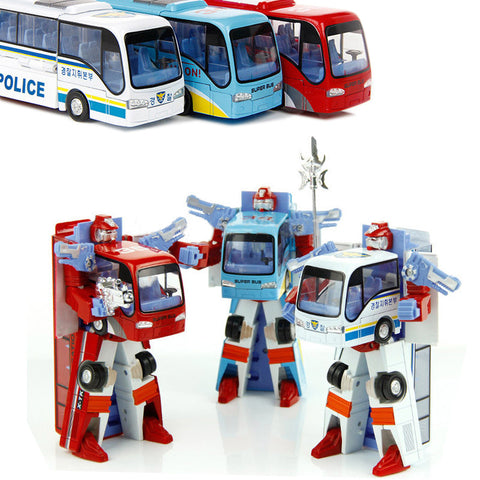 3 Styles Robot Transformation Bus Car Toys. Police Robot Bus Toys For Kids. 3 colors