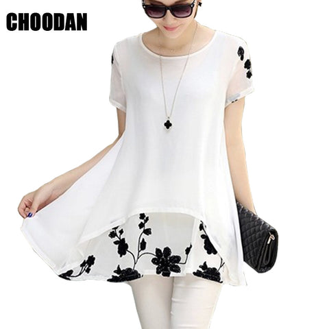 Chiffon Blouse, Summer Elegant Floral Embroidery Short Sleeve Shirt, Plus Sizes