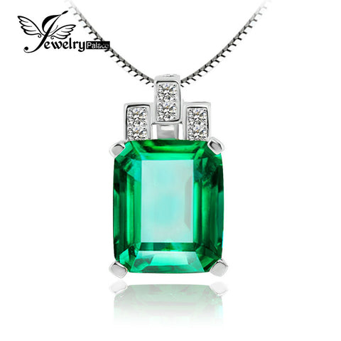 6ct Genuine VVS Created Emerald Pendant in Sterling Silver