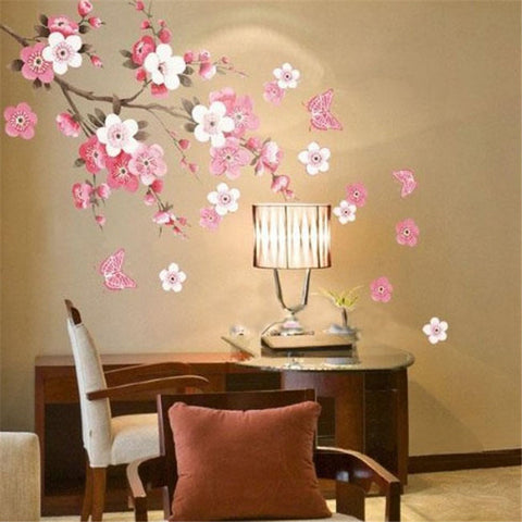 Mural Decal Sticker Plum Blossom Flowers Chinese Painting Removable Wall Art Decals Stickers