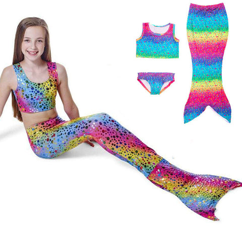 Girls MERMAID RAINBOW BIKINI SET! Skirt, Three Piece Swimsuit, Kids bathing suit Asst Colors