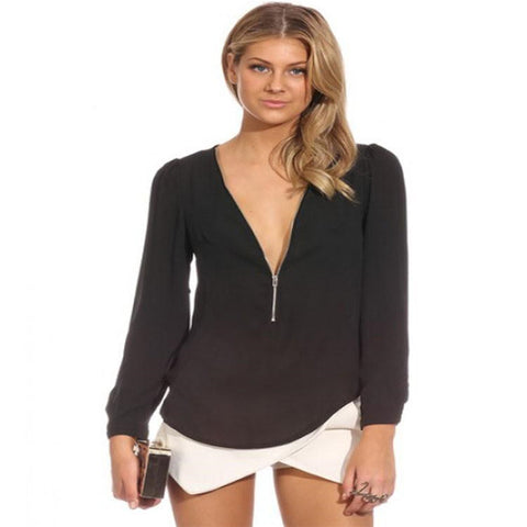 Deep v neck, Fashion Solid chiffon Shirt sexy Blouses female Shirts with Zipper