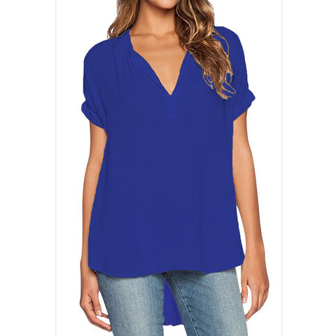 Blouse Shirt, Chiffon V Neck, Sexy Summer Style, Casual, Plus Sizes 4XL, Womens Top