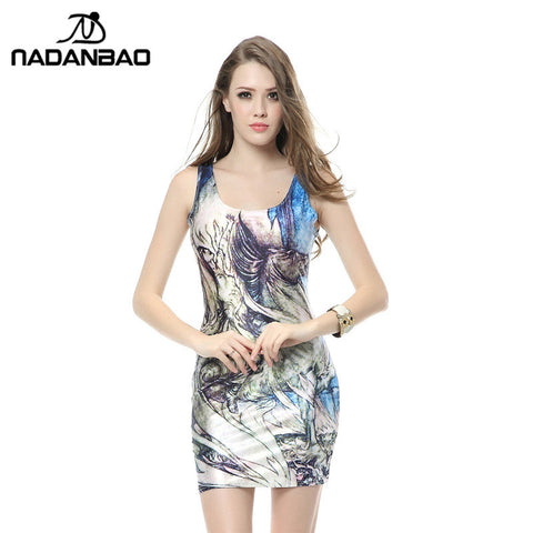 3D Digital Print Women Sexy Club Dress, Short, Slim, Shiny Party Dress