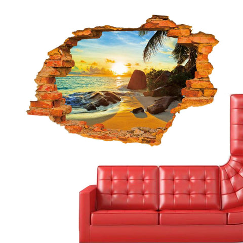 Island Sunset Paradise 3D Window View Vinyl Wall Stickers Art Decal Sofa Wall Landscape Decoration