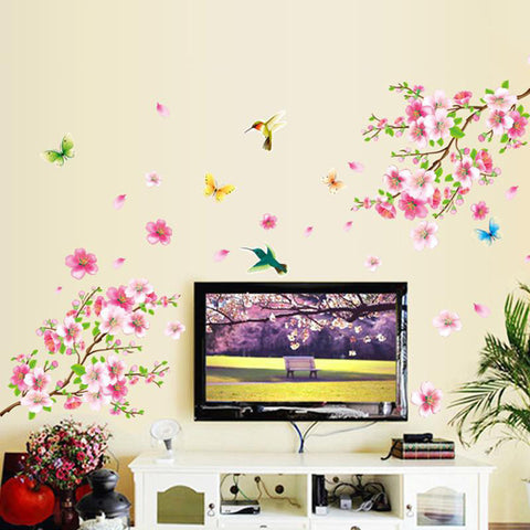 3D Flower Wall Stickers Peach Blossom Wall Stickers Living Room Decoration  Home Bedroom Mural Decals Part 44