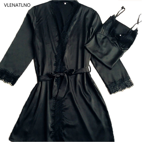 Silk and Lace Robe and Gown set  Plus Sizes Available  Black Pink or Gray
