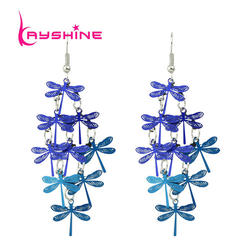 Tiny Dragonflies Drift Above Your Shoulders with these Adorable Dangle Earrings. Blue or a Rainbow of Colors