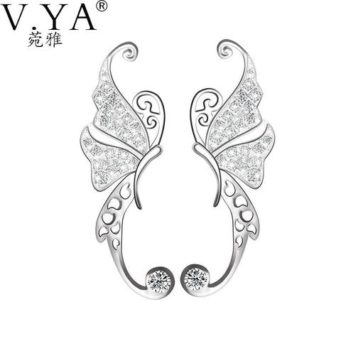 Crystal Butterfly 100% Sterling Silver Earrings, Solid Silver Stud Earring