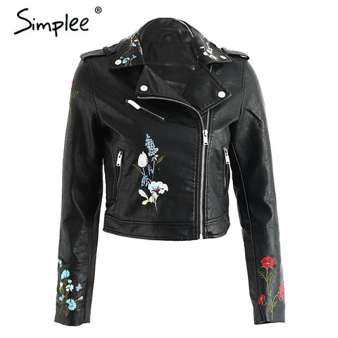 Embroidered Leather-look Motorcycle Jacket Zipper Closure, Pockets. Available in 5 Colors