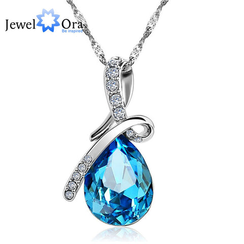 Fashion Blue Crystal Pear Shape Pendant (blue topaz & diamond look) with Chain