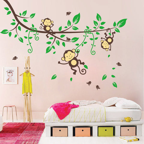Jungle Monkeys Tree Wall Sticker Vinyl Decal Kid Nursery Baby Decoration wall poster