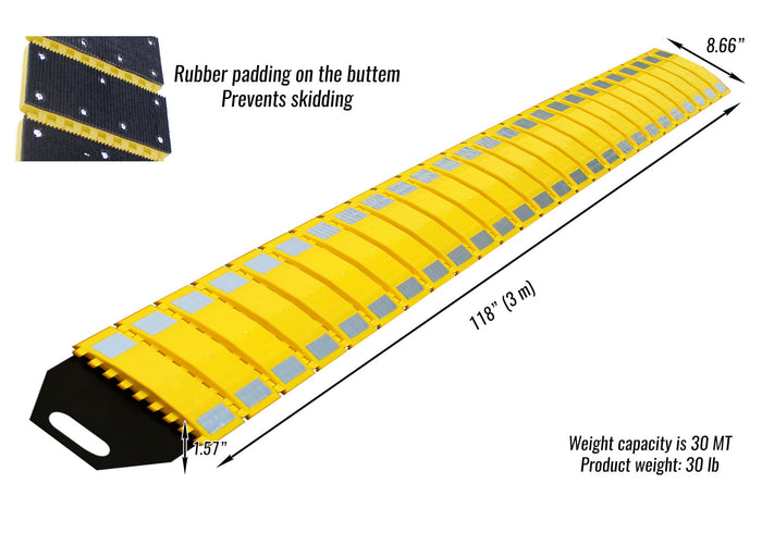 RK Safety RK-PSH10 PU Portable Folding Traffic Control Calming Speed Bump, 10' Long x 9-3/4 Wide …-RK Safety-RK Safety