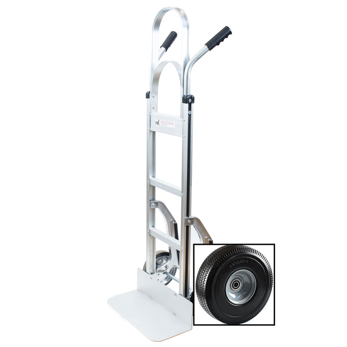 NK HTA-14 (W/ PT-007) Heavy Duty PT-007 Aluminum Hand Truck, Stair Climber, Fully Assembled without Wheels, Flat Free Wheels - RK Safety