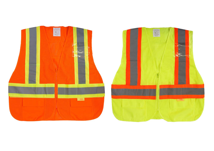 Class 2 Hi Viz Safety Vest with Reflective Strips and Pockets -SAZ8211& SAZ8212(Orange, Lime)-New York Hi-Viz Workwear-RK Safety