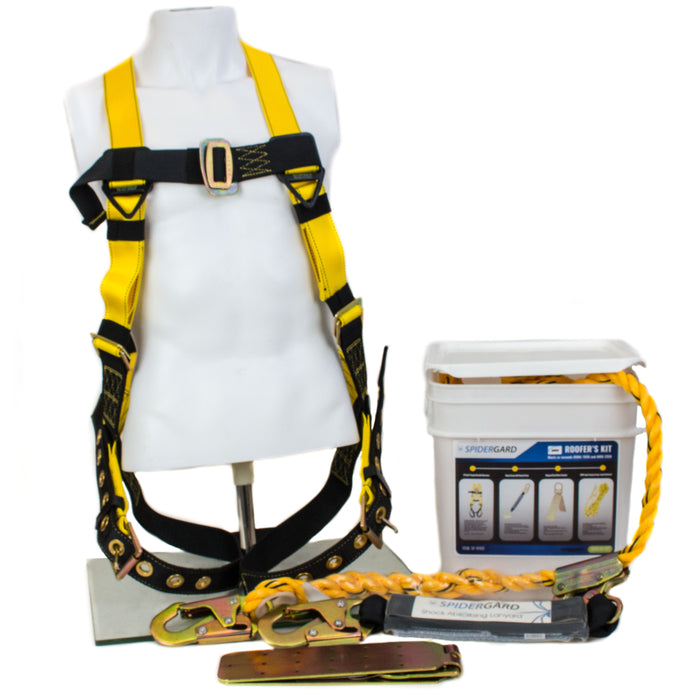 Spidergard SP-RFKIT Construction Harness with Leg Tongue Buckle Straps and 4 Pieces Roof Kit Combo - RK Safety