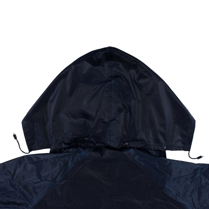 Navy PVC Polyester Trench Rain Long Coat With Hoodie-RC-PP-NVY44 - RK Safety