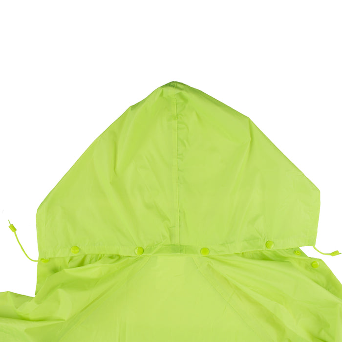 Hi-Vis Green PVC Polyester Trench Rain Long Coat With Hoodie-RC-PP-HIG44 - RK Safety