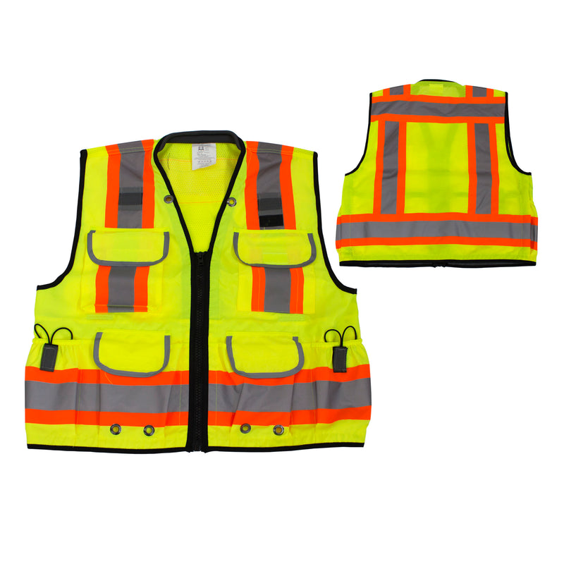 Rk Safety Class 2 Ploy Mesh Hi-visible, Two Tone Reflective Strips, Oxford Fabric for Pockets, Construction Traffic Emergency Safety Vest- SV6511&2 (Orange/ Lime)-RK Safety-RK Safety