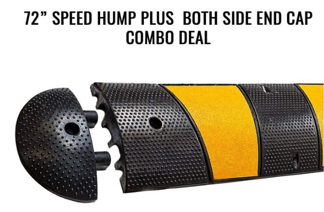 RK-SPBP6 Modular Rubber Speed Bump Hump (6 ft) and Modular Rubber End Cap (1 Speed Hump, 2 End Cap)-RK Safety-RK Safety